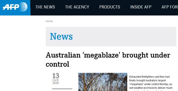 """澳大利亚火灾最新进展!消防员:规模最大""""巨型山火""""已得到控制"""